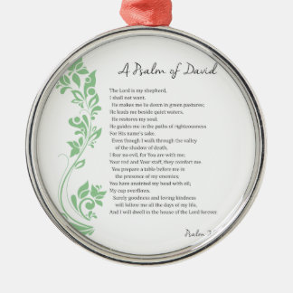 Psalm of David The Lord is my Shepherd Bible Verse Silver-Colored Round Decoration