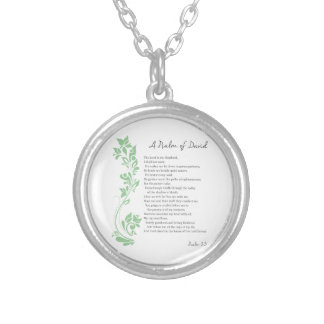 Psalm of David The Lord is my Shepherd Bible Verse Silver Plated Necklace