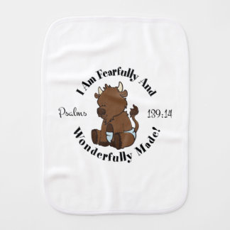 Psalms 139:14 Design (Bison) Burp Cloth