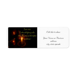 Psalms 18:28 over Lit candle and copper teapots Return Address Label