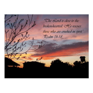 Psalms 24:18 Lovely Sunset Encouragement Postcard