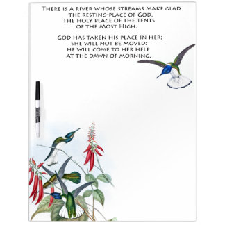 Psalms 46 Bible Hummingbird Floral Dry Erase Board