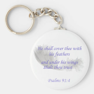 Psalms 91:4 He shall cover thee with his feathers Key Ring
