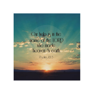 Psalms Bible Verse with Sunrise Wood Canvas