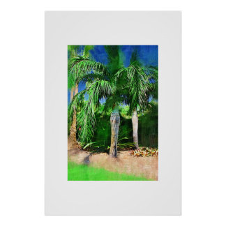 Pseudophoenix palm tree, Oil painting Poster