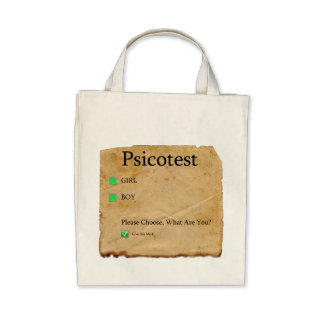 Psicotest Girl Boy Organic Grocery Tote Bag