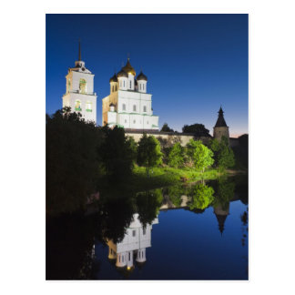 Pskov Kremlin and Trinity Cathedral reflected Postcard