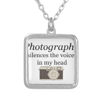 pstvimhPhotography silences the voices in my head Silver Plated Necklace