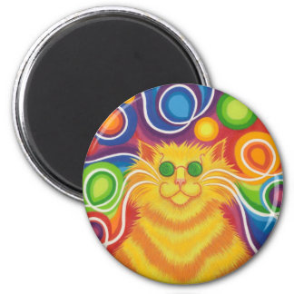 Psy-cat-delic fridge magnet round
