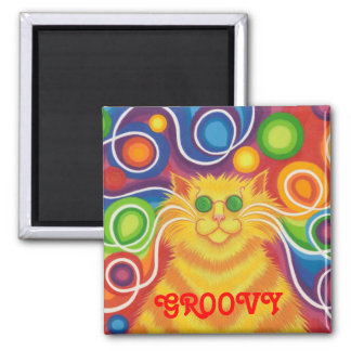 Psy-cat-delic 'Groovy' fridge magnet square