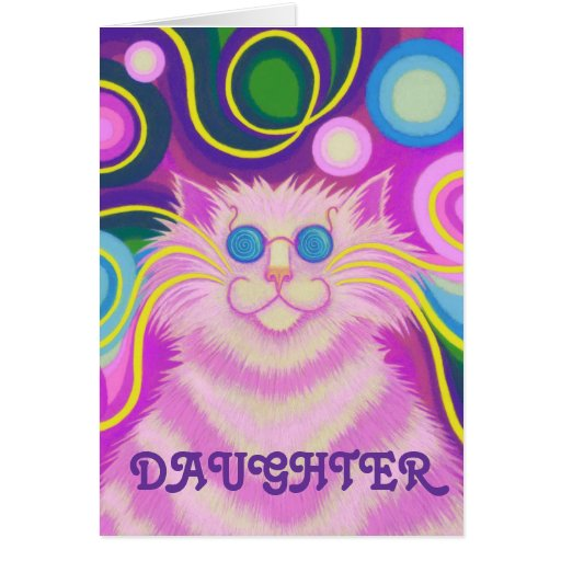 Psy-cat-delic Pink 'Daughter' birthday card
