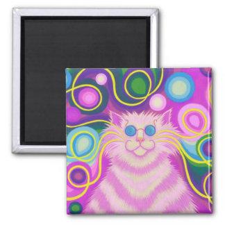 Psy-cat-delic Pink fridge magnet square