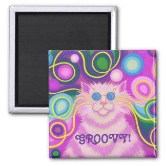 Psy-cat-delic Pink 'Groovy' fridge magnet square Fridge Magnets