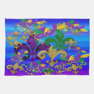 Psycadelic colorful fleur de lis carnival towel