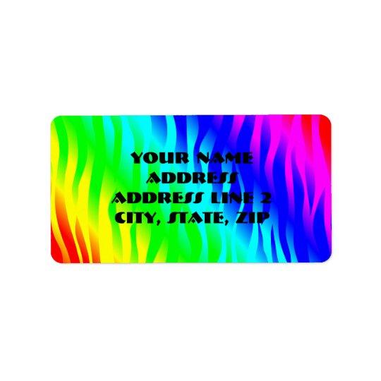 Psychadelic flaming rainbow colours address label