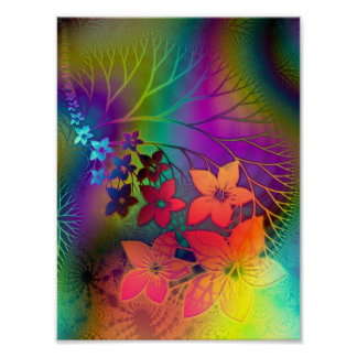 Psychadelic Floral Poster
