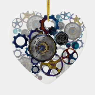 Psychadelic steampunk gears, cogs, clock face gift ceramic ornament