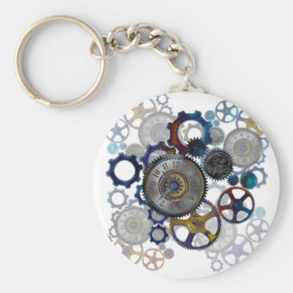 Psychadelic steampunk gears, cogs, clock face gift keychain