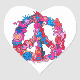 Psychdeclic Peace Symbol Heart Sticker