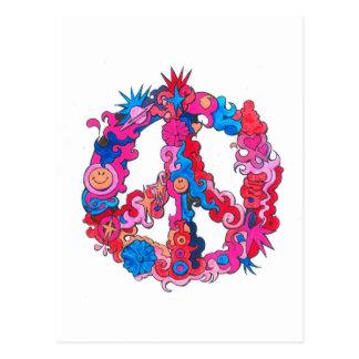 Psychdeclic Peace Symbol Postcard