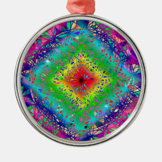 Psychedeli colors and Crystal Metal Ornament