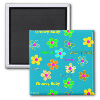 Psychedelic 60s Groovy Flowers Pattern Magnet