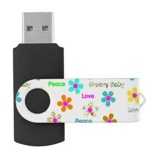 Psychedelic 60s Groovy Flowers Pattern Swivel USB 3.0 Flash Drive