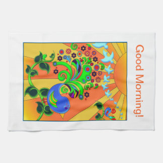 Psychedelic Abstract Bird Tea Towel