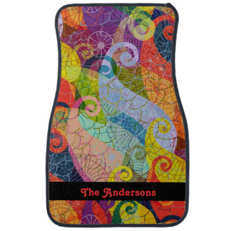 Psychedelic Abstract Design Car Mats