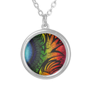 psychedelic abstract painting round pendant necklace