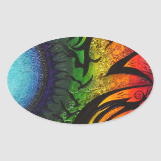 psychedelic abstract painting oval sticker