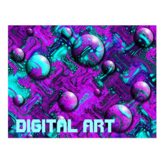 Psychedelic Abstract with Bubbles Postcard