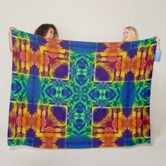 Psychedelic Alien Fish Mandala Fleece Blanket