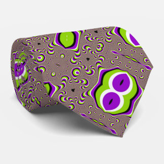 Psychedelic Alien Invasion Optical Illusion Satin Tie