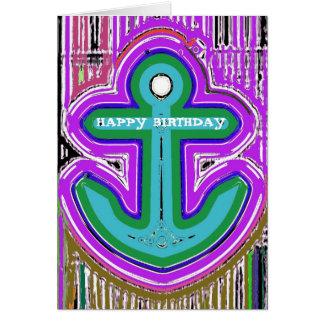 Psychedelic Anchor Birthday Card