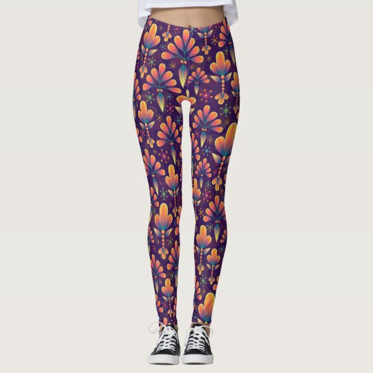 Psychedelic and Colourful Flowers Leggings