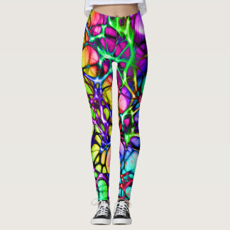 Psychedelic and Colourful Network of Lines Leggings