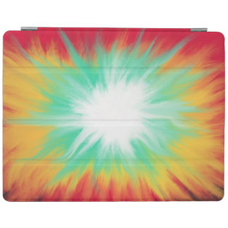 Psychedelic Aqua Red Yellow Abstract Art Design iPad Cover
