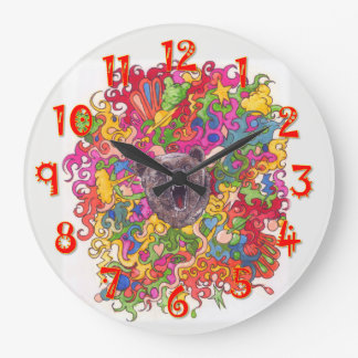 Psychedelic Bear Large Clock