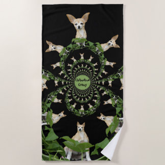 Psychedelic Beige And White Chihuahua Humorous Beach Towel