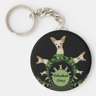 Psychedelic Beige And White Humorous Chihuahua Key Ring