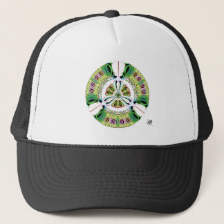 Psychedelic bio-hazard symbol (or whatever u see) trucker hat