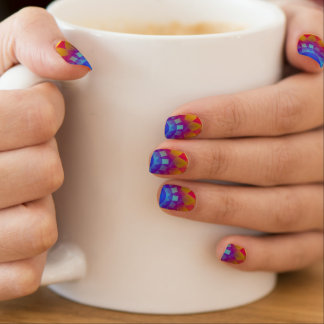Psychedelic Blue and Yellow Sun Nail Art