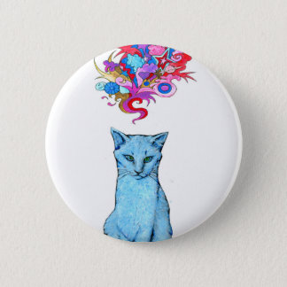 Psychedelic Blue Cat 6 Cm Round Badge