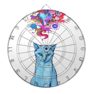 Psychedelic Blue Cat Dartboard