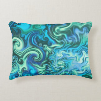 Psychedelic Blue Pillow-swirly turquoise & aqua Decorative Cushion