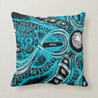 Psychedelic Blue Sun And Moon Fractal Pillow