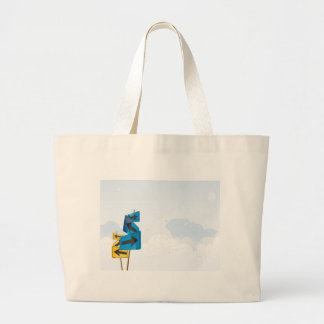 psychedelic blue yellow road signs jumbo tote bag