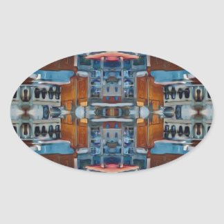 Psychedelic Building Pattern Oval Sticker