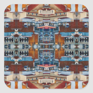 Psychedelic Building Pattern Square Sticker